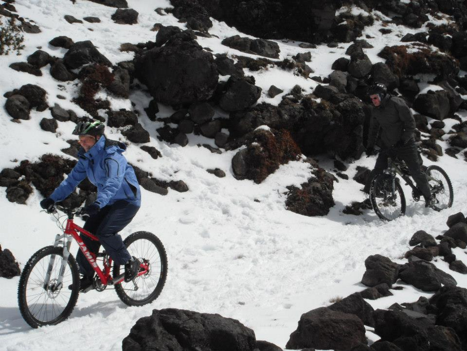 Biking in the snow - not as easy as it looks!